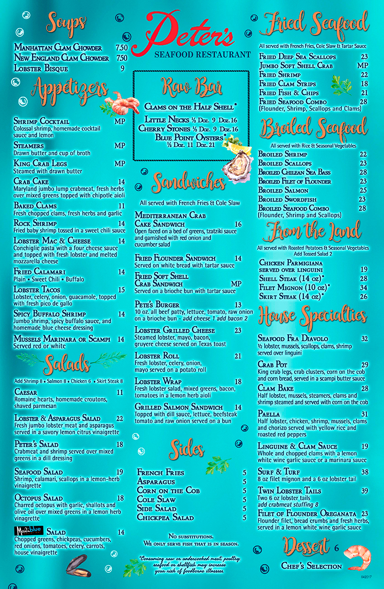 Peters Restaurant Menu